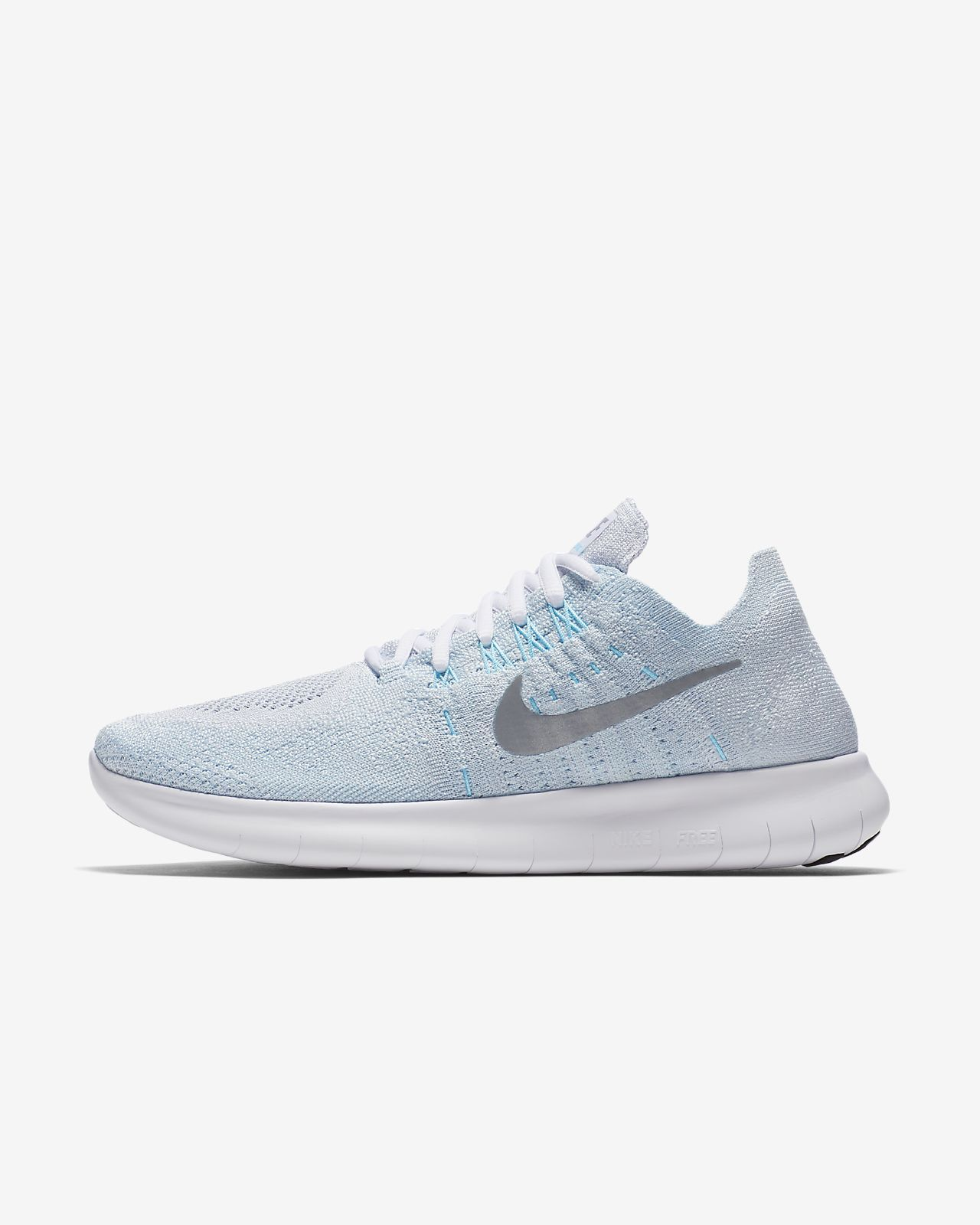 8d5bee8ce2ab Nike Free RN Flyknit 2017 Women s Running Shoe (size 8.5 - pure platinum glacier  blue blue fury metallic silver)