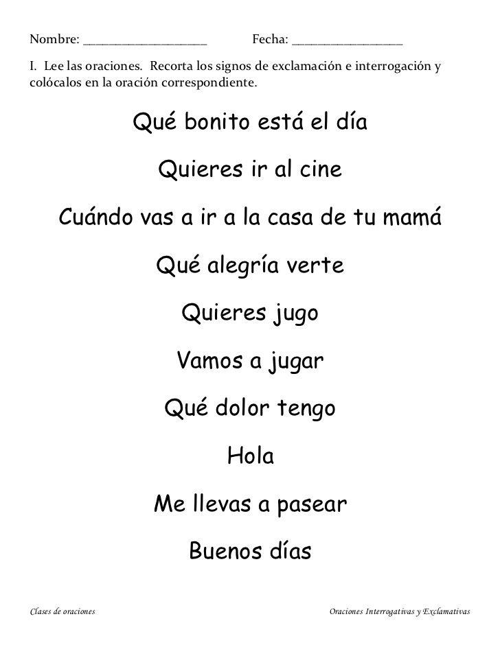 Oraciones Exclamativas E Interrogativas Types Of Sentences Spanish Lessons Education
