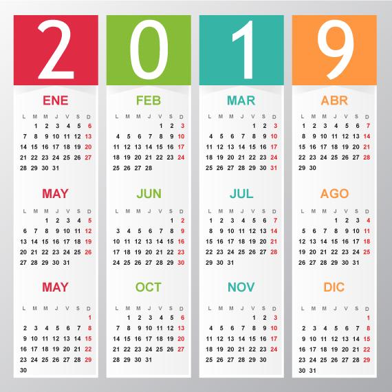 Calendario Elegante Del 2019 Editable En Español Vector Calendario Español Calendarios Imprimibles Calendario