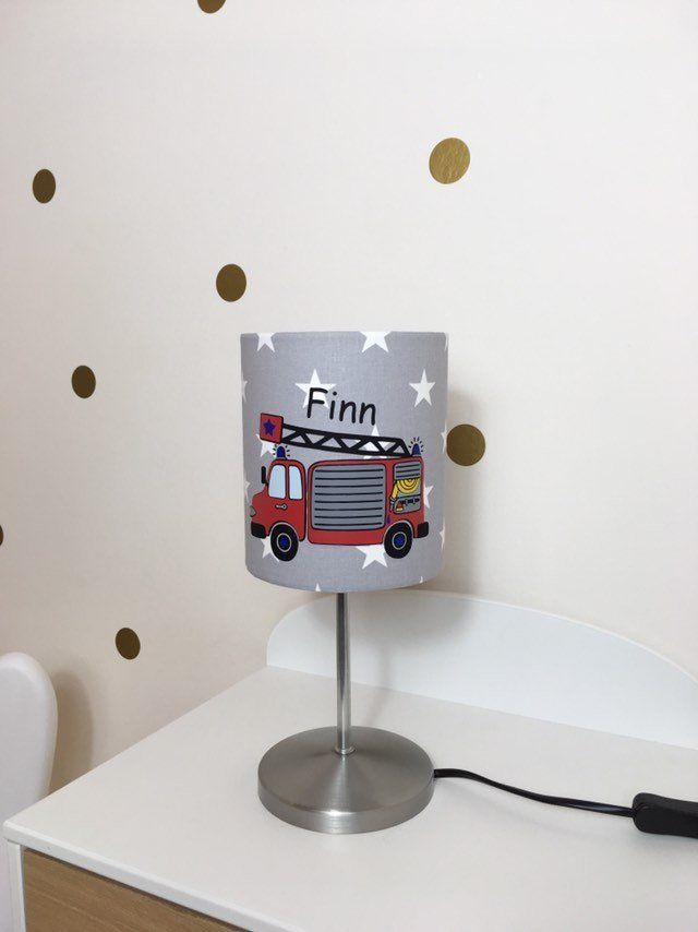 Tischlampe Kinderzimmer Feuerwehrlampe Feuerwehrleuchte Lampe