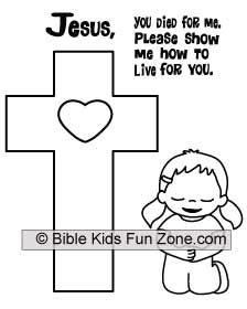 Coloring sheet of a little girl kneeling at the cross