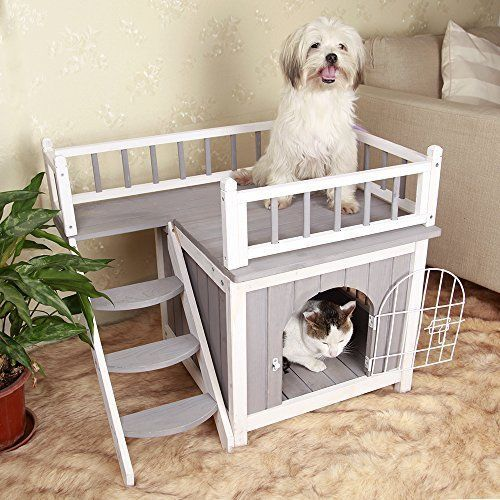 Cute Pet House Dogs Cats Pets Bed Doghouse Home Wooden Cat House Indoor Dog House Wood Dog House