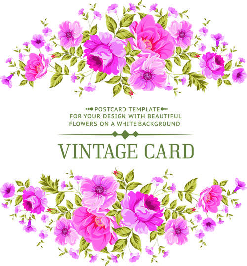 Pink Flowers Vintage Card Vector 01