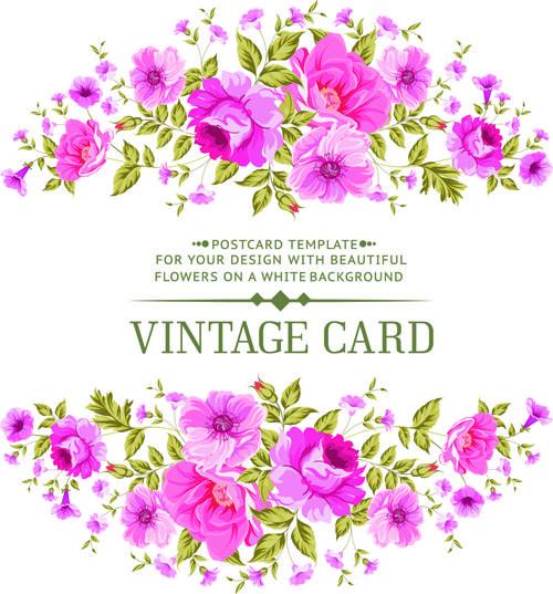 Pink flowers vintage card vector 01 Vintage cards