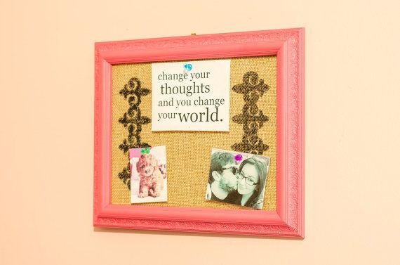 Pink Framed Burlap Dream Board/Bulletin Board by StarBerryBoutique