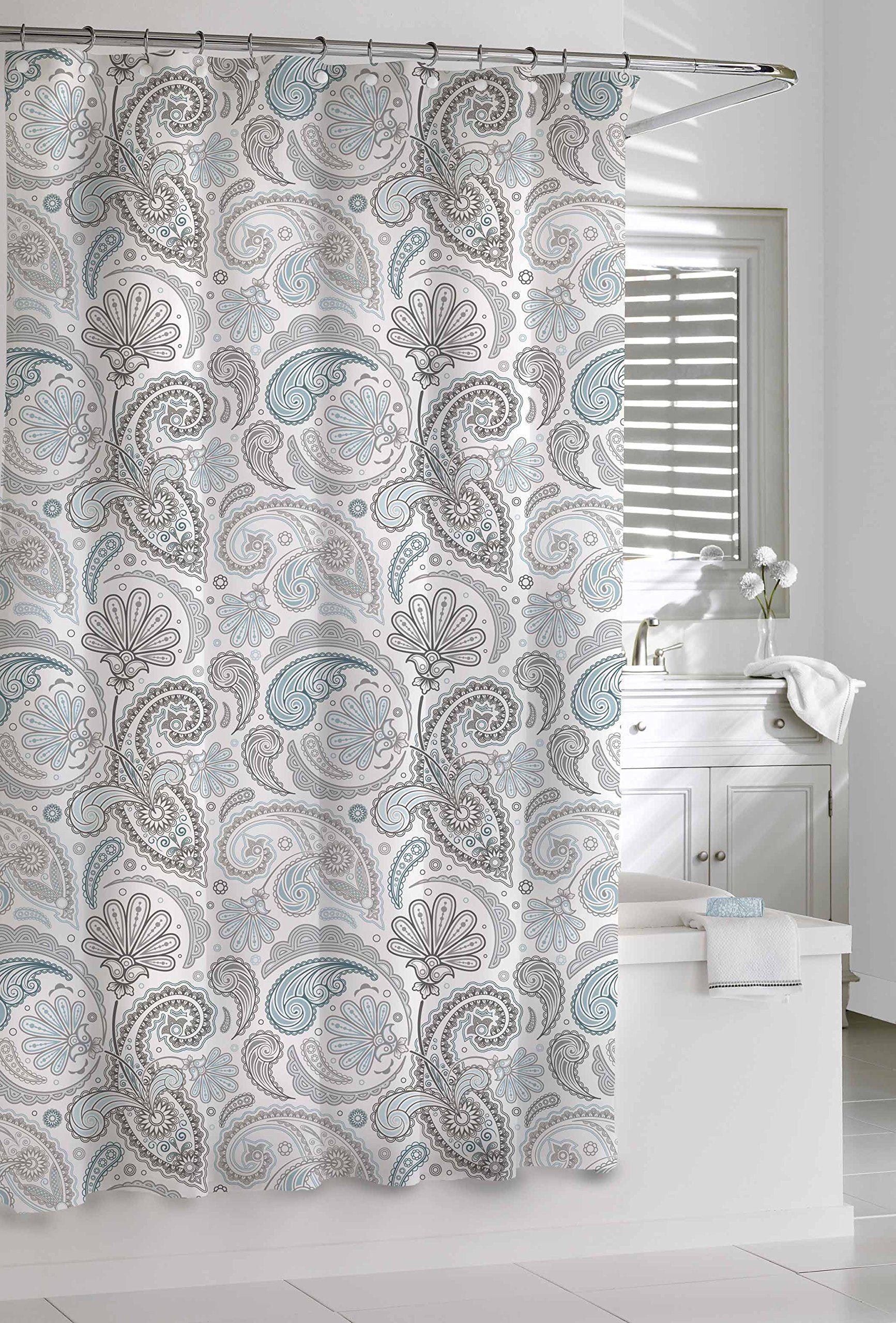 Kassatex Sps 115 Bgr Paisley Shower Curtain Blue Grey 72 By 72 Inch Paisley Shower Curtain Gray Shower Curtains Shower Curtain