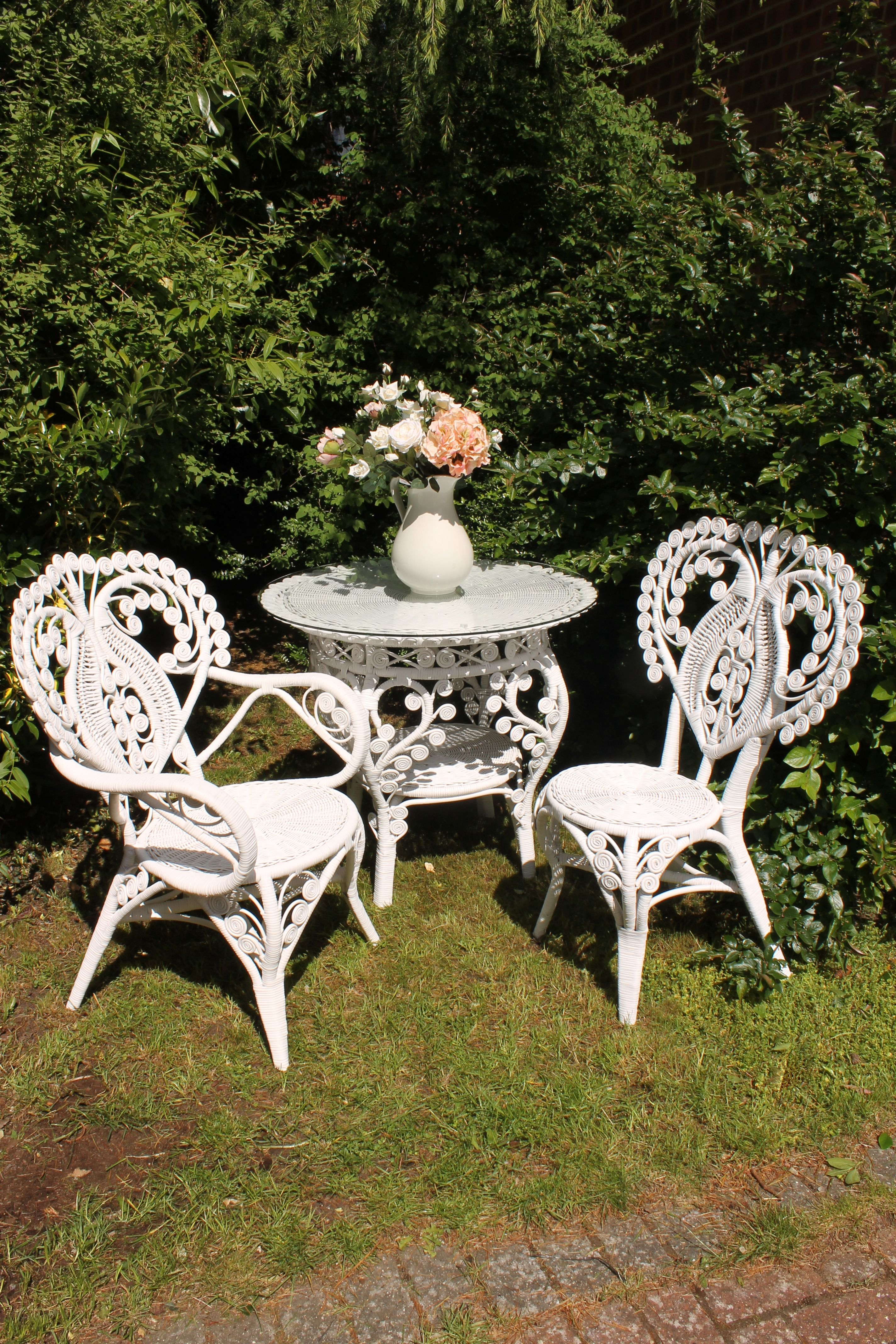 White Garden Furniture Uk Beautiful peacock ornate white rattan table and chair garden set beautiful peacock ornate white rattan table and chair garden setavailable in the uk curlycane workwithnaturefo