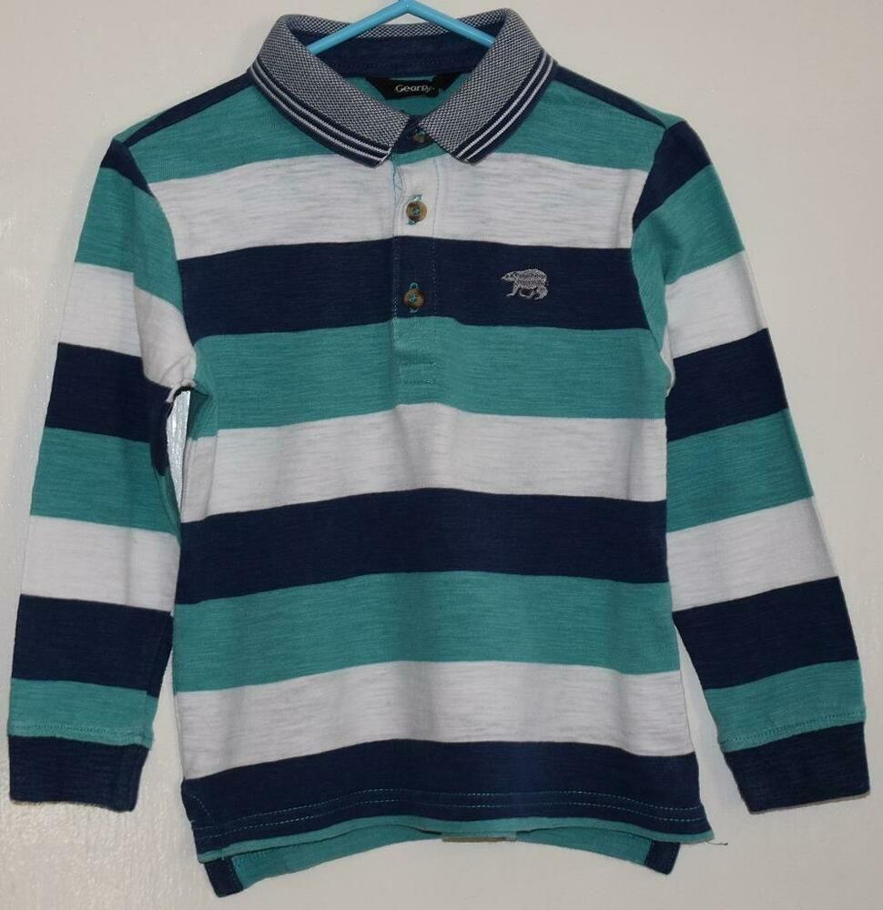 c941371d7 GEORGE Kids Boys Navy Green White Striped Long Sleeve Rugby Shirt Age 3-4  Years