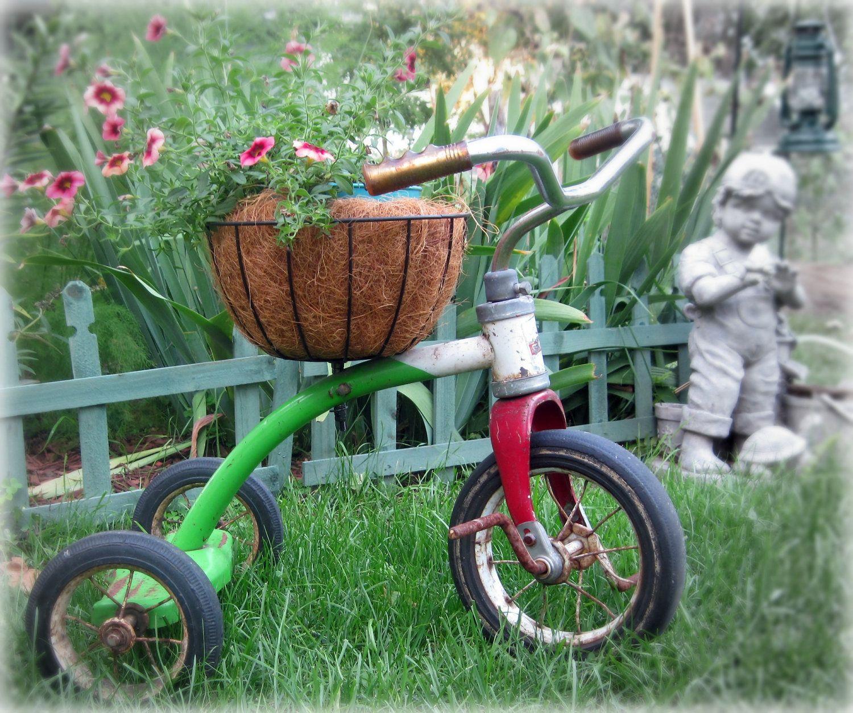 Vintage Tricycle Planter Plant Holder Yard Art 400 x 300