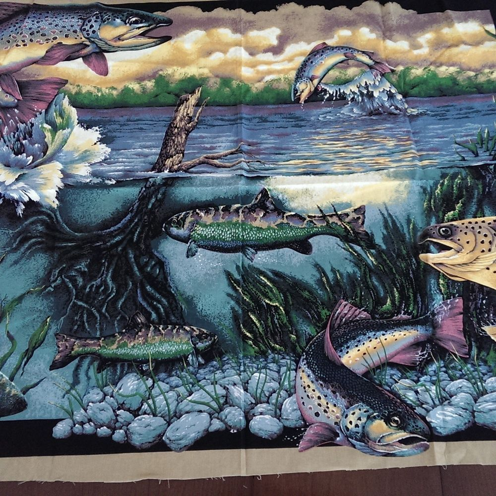 Springs Industries Fish Fishing Outdoor Lake Fabric Panel Cotton 45 X 35 Quilt Springsindustries Landscape Quilt Panel Quilts Quilts