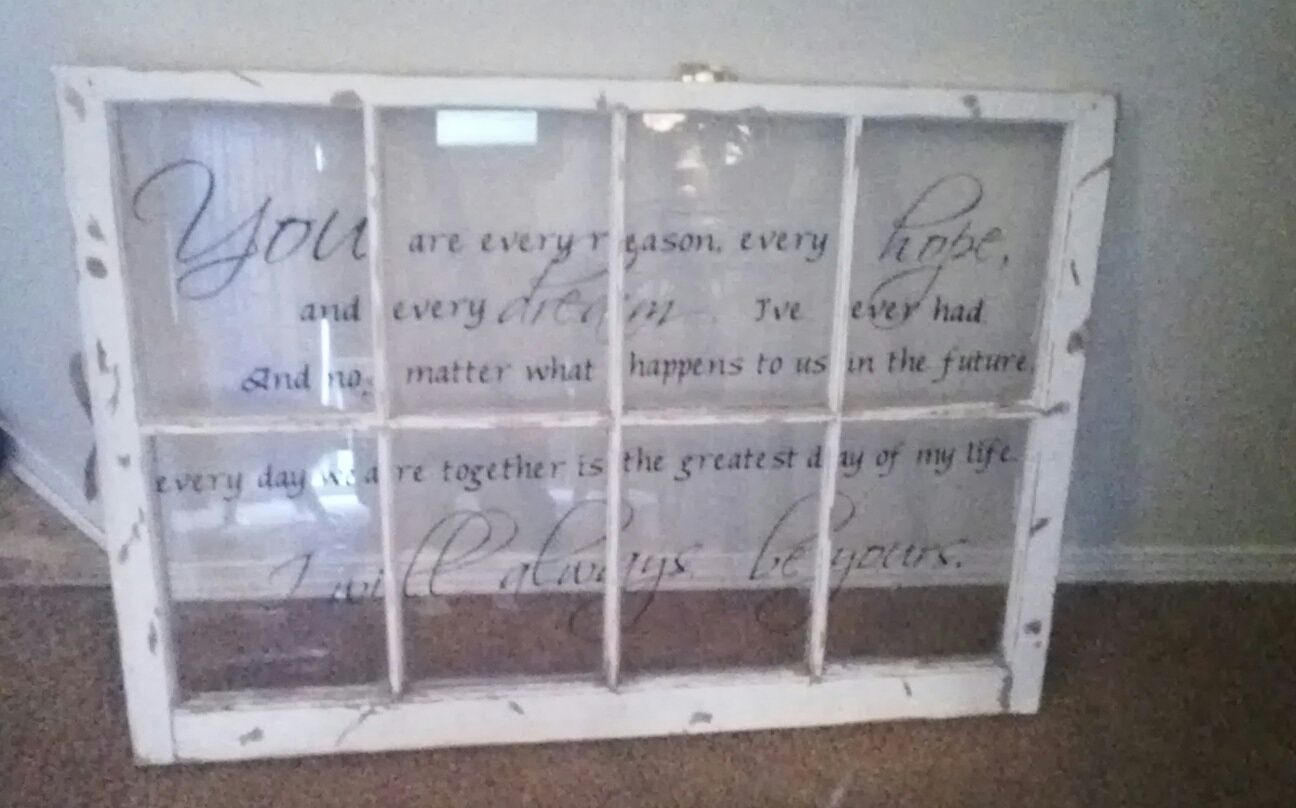 Old antique window with vinyl decal