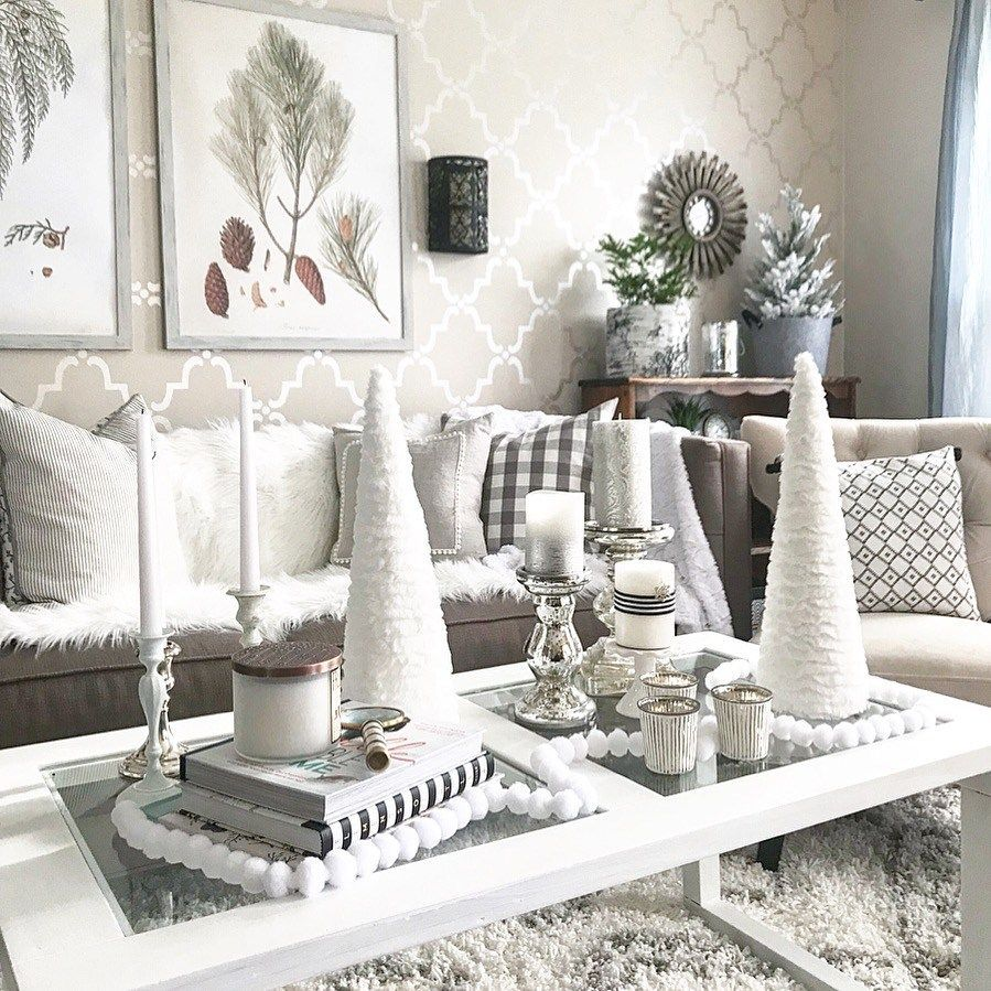 25 Creative Winter White Holiday Decorating Ideas For Winter Decoration Homeridian Com Winter Home Decor Winter Decor Winter Living Room Living room holiday decor