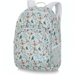 White backpack with pink flower and blue bird design from the ...