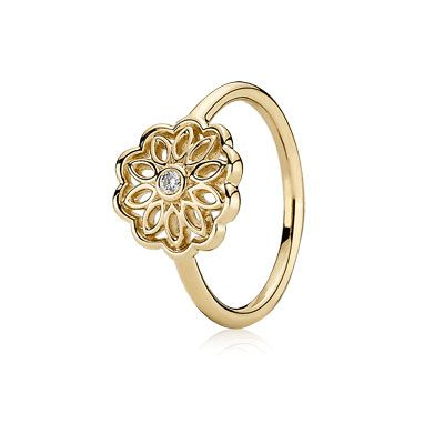 Golden Radiance - 14k gold ring in a delicate flower design with ...