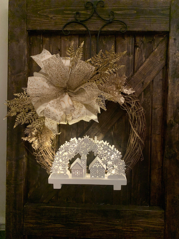 Photo of Christmas grapevine wreath, Light up church grapevine wreath, Holiday grapevine wreath, winter light up grapevine wreath