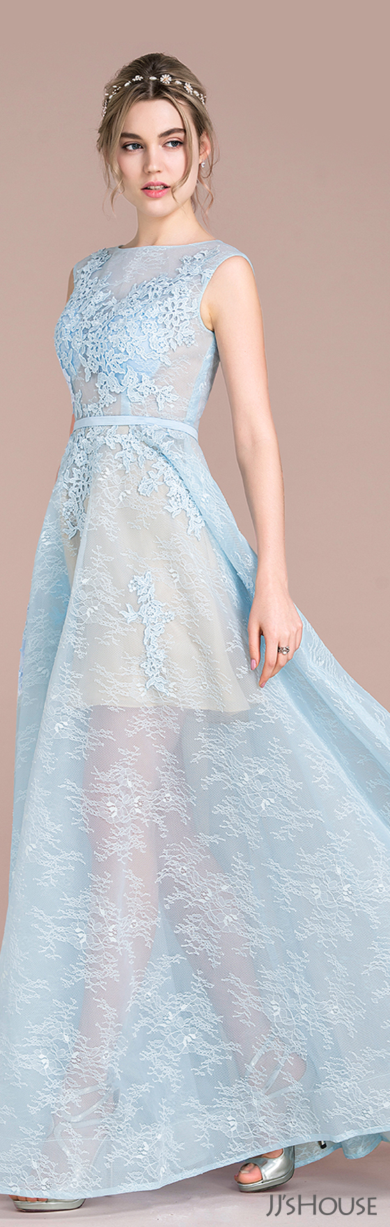 A-Line/Princess Scoop Neck Floor-Length Tulle Lace Prom Dresses ...