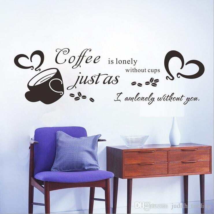 Coffee Wall Sticker Cafe Bar Poster Adesivo De Parede Quotes Letters  Wallpaper Kitchen Cozinha Wall Decor