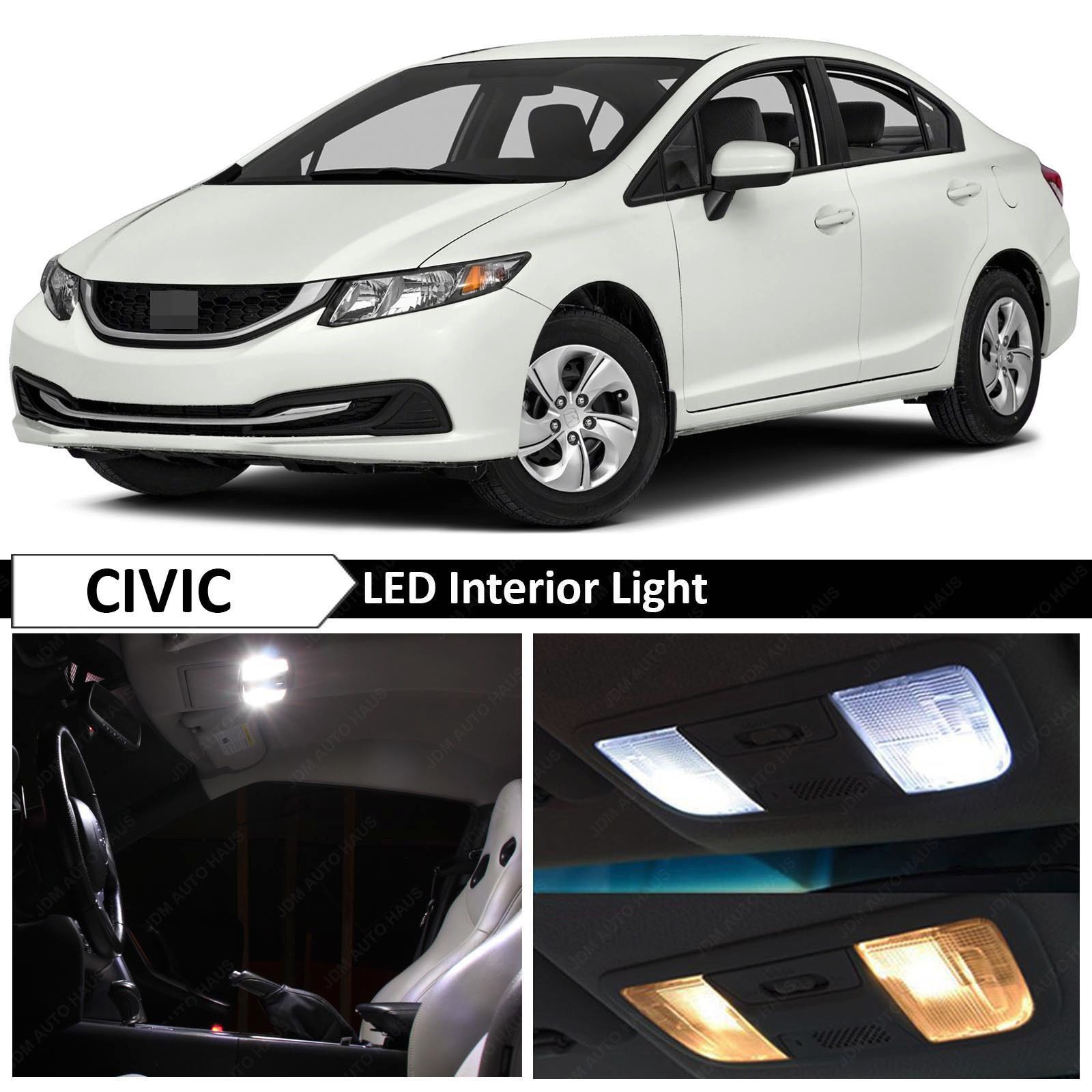 Nice Great 2013-2015 Honda Civic White Interior LED Lights Package ...
