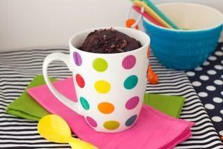 chocolate fudge mug cake (made with applesauce and stevia)