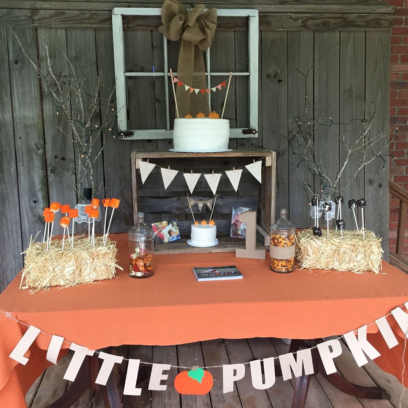 Fall Party Cake Table Pumpkin Party Decorations Pumpkin Birthday Parties Boys First Birthday Party Ideas Pumpkin 1st Birthdays