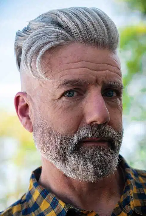 Back Slick Silver Shining Hairstyle In 2020 Grey Hair Men Men With Grey Hair Mens Hairstyles Undercut