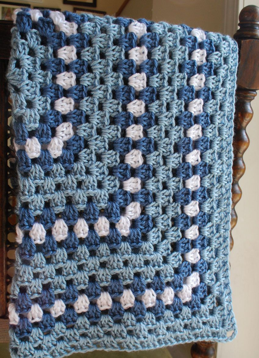 Baby Afghan Blanket - granny square design - blue and white ...