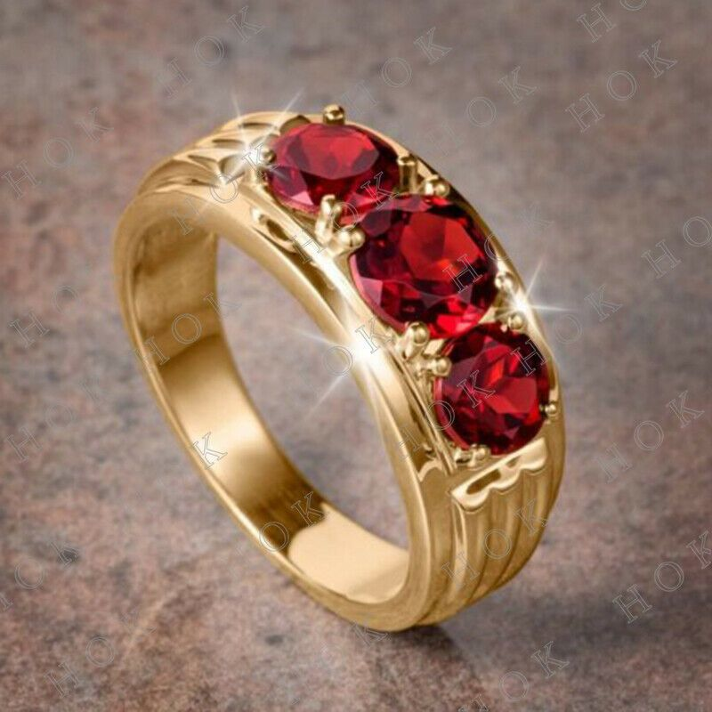 Real 10k Yellow Gold Men S 3 Stone Red Ruby Wedding Band Ring Size 7 13 Houseofkanak Mens Diamond Wedding Bands Rings For Men Cubic Zirconia Wedding Bands