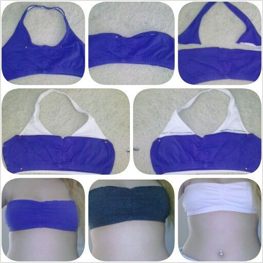 How to make a Bandeau out of a sports bra (I used a halter one ...