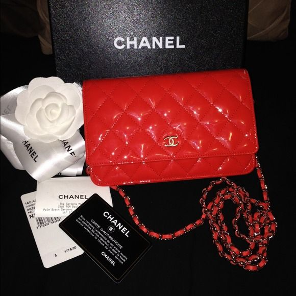 3bebf12713a2 Chanel wallet on chain. Rare color- orange-red My new baby <3 Orangy/red  chanel woc. Rare color!! Sharing for now. 100% authentic. Receipt, hologram  card ...