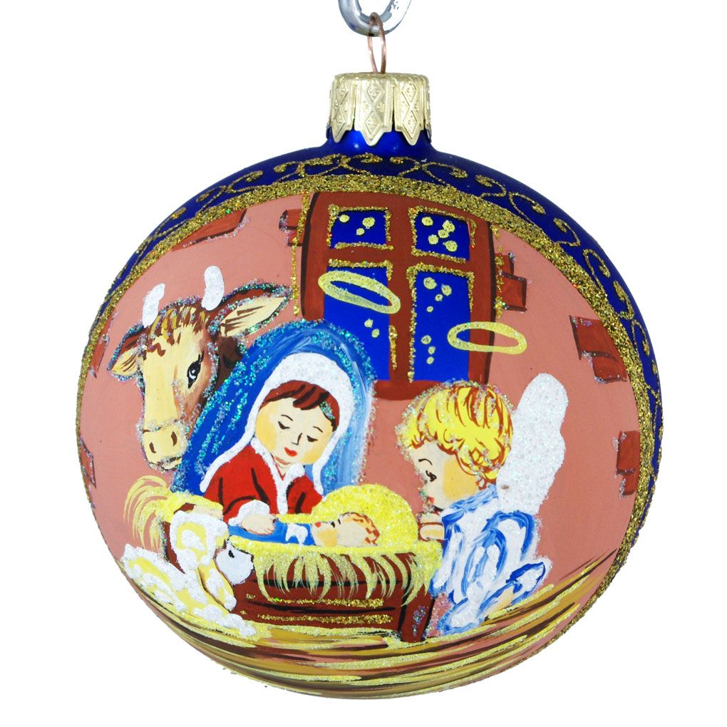 """Holy Family With Angel Hair Glass Ornament: """"Baby Jesus And Angels"""" (Made In Ukraine)"""