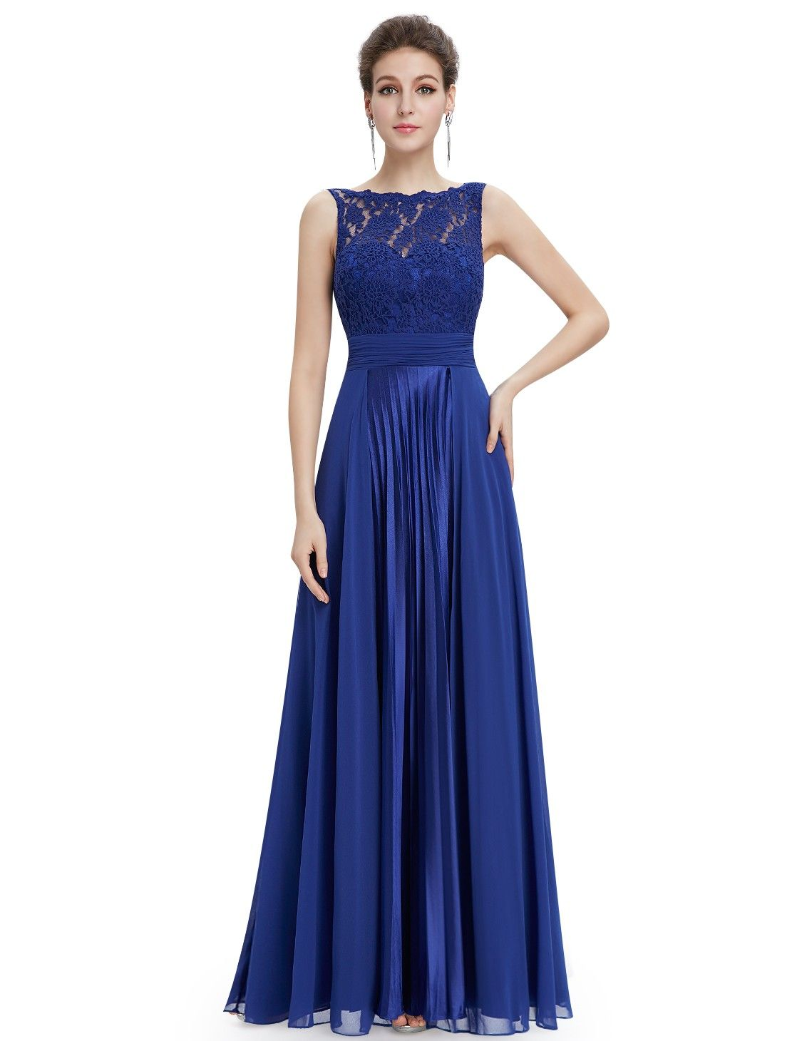Elegantes Brautjungfer Abendkleid Blau Rundhals | Kleider ...