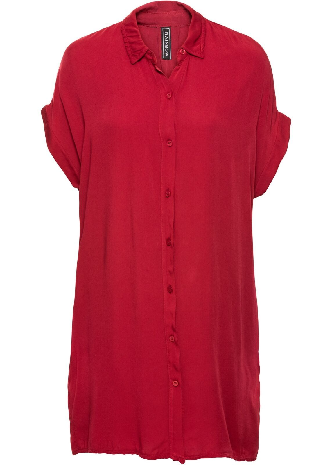 Blusenkleid Gr. 46 Rot Damen-Kleid Sommerkleid Mini ...