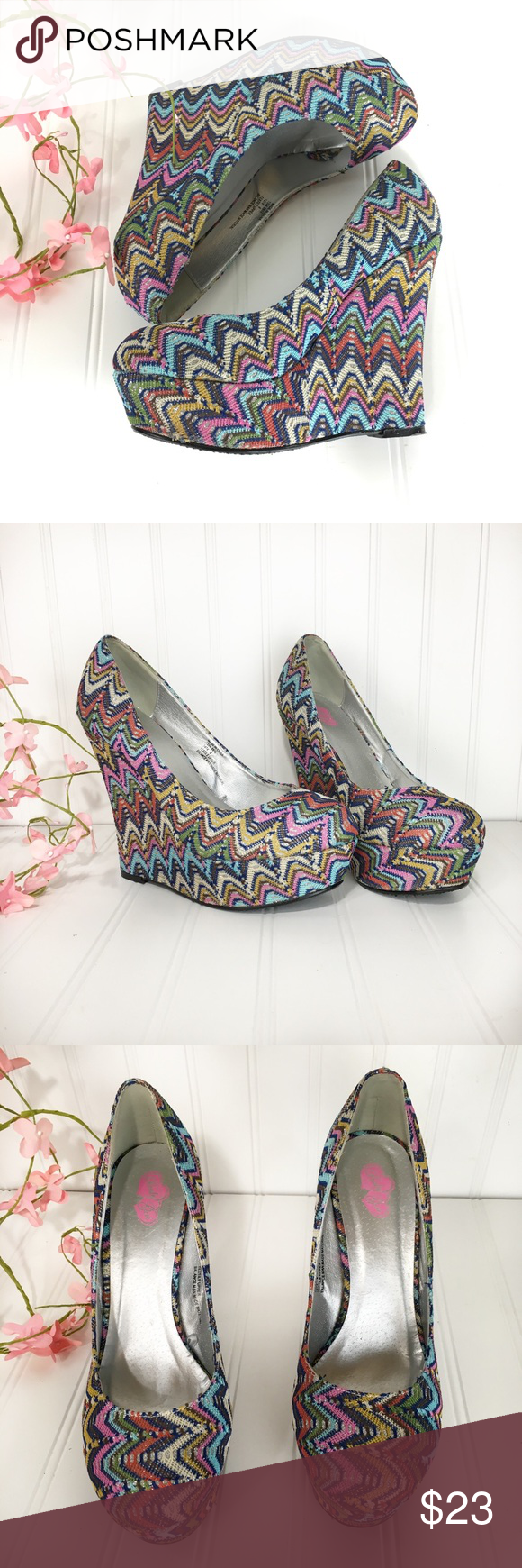 5e54047246b5 Rainbow sparkly fabric wedge heels