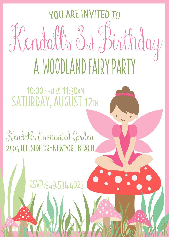 Custom Fairy Birthday Invite Pixie Party Invitation