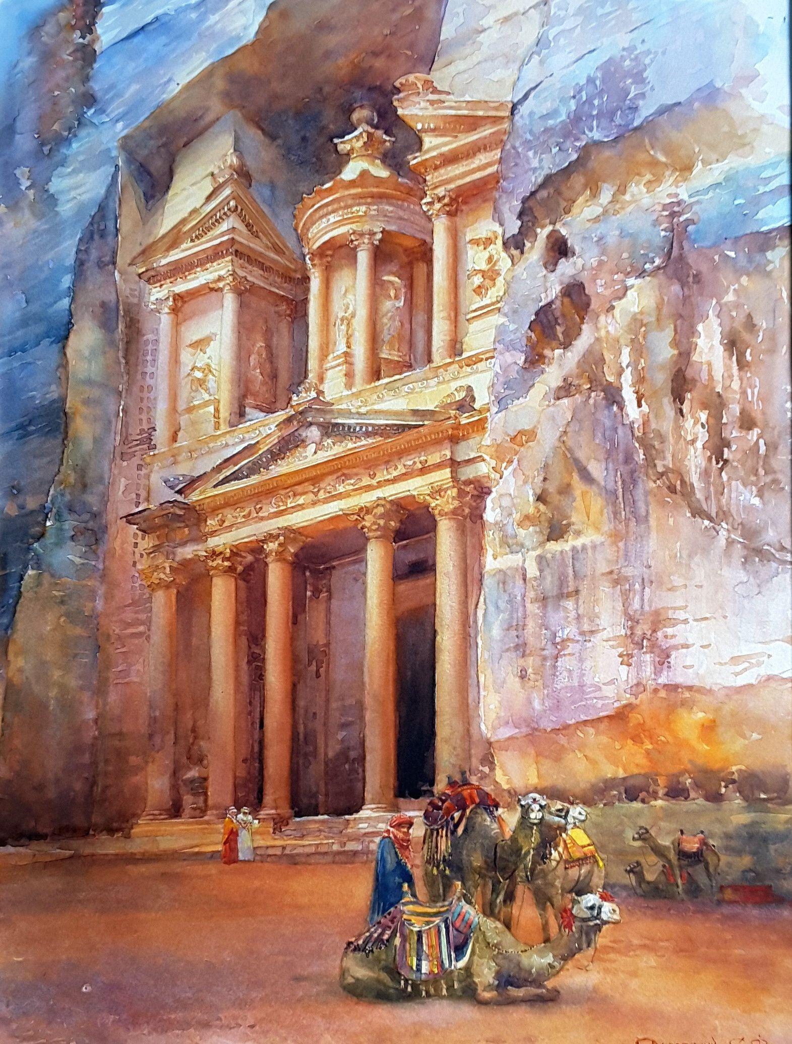 Petra Jordan decor. Print Watercolor painting. Petra wall art. Jordan travel gift