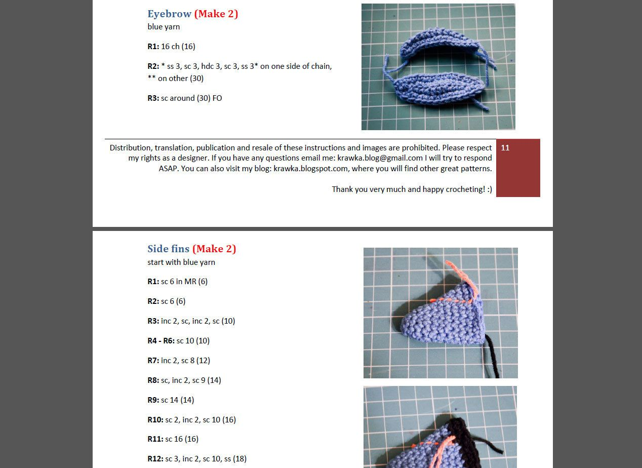 Crochet PATTERN - blue fish pattern by Krawka, fish, sea creature ...