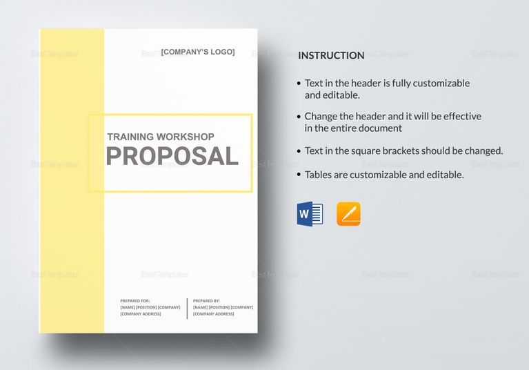 Training Workshop Proposal Template  Proposal Document Design