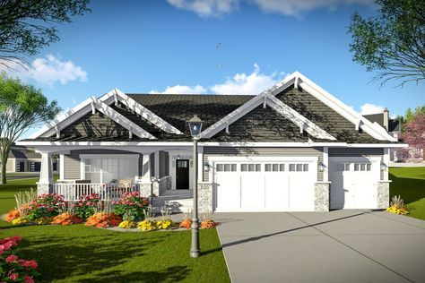 Photo of Plan 890107AH: One-Level Traditional Home Plan with Split Beds