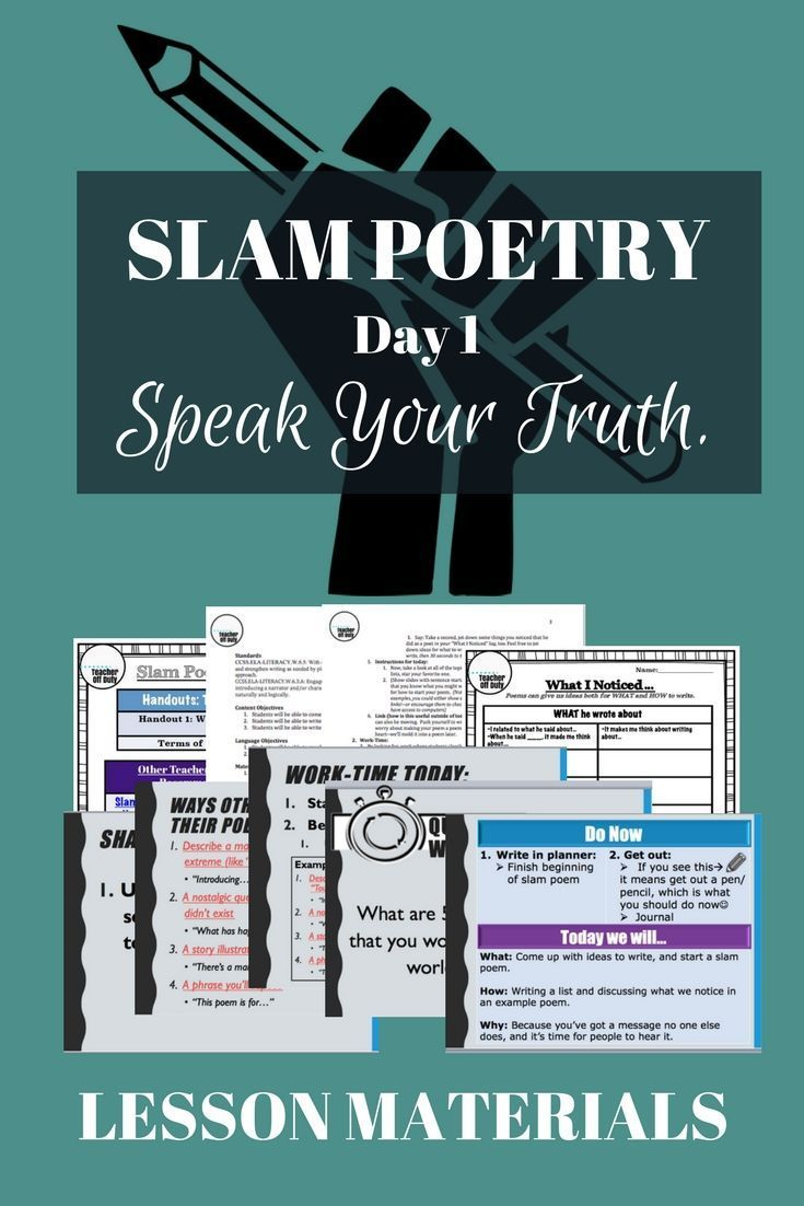 slam poetry day one from link in post tpt 39 s greatest hits poetry lessons slam poetry. Black Bedroom Furniture Sets. Home Design Ideas