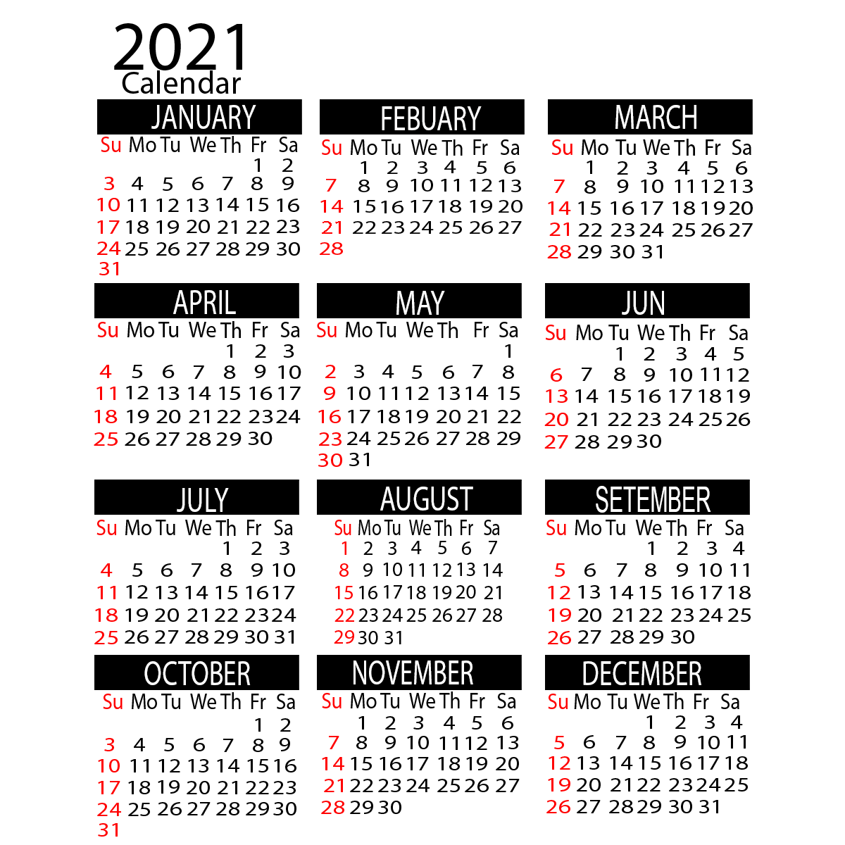 2021 Yearly Calendar Printable Calendar 2021 in 2020