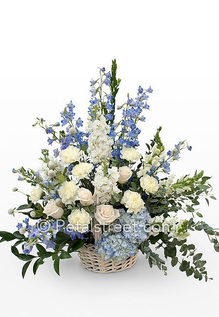 Image Result For Blue And White Funeral Arrangements Large Flower Arrangements Large Floral Arrangements Funeral Floral Arrangements