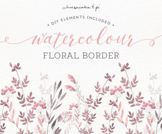 Watercolor Floral Border Hand Painted Floral Clip Art Wedding