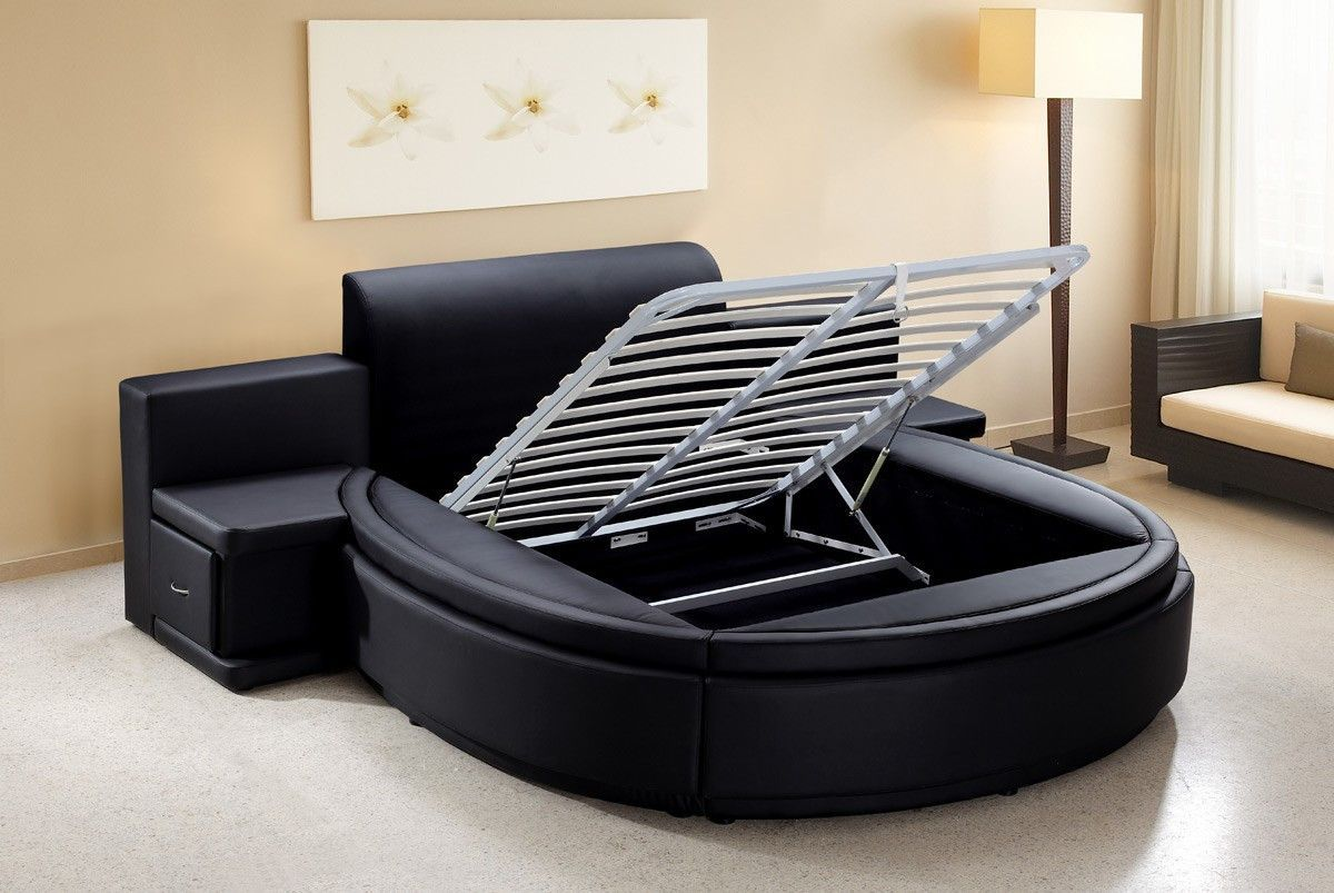 Modrest Owen Black Leatherette Round Bed with Storage | Round beds ...