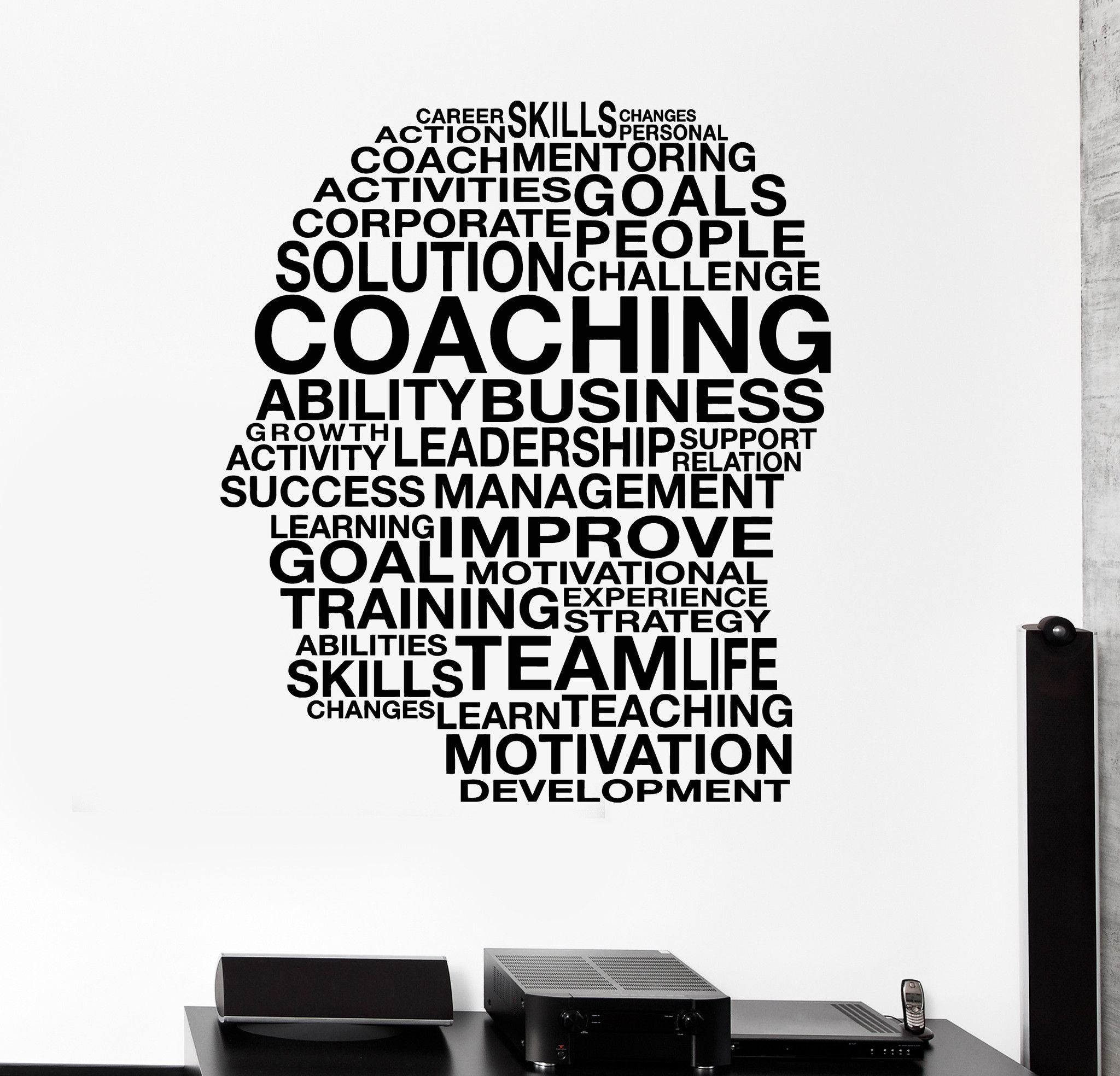 Vinyl Wall Decal Words Coaching Skills Office Inspired