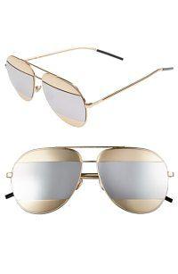 Dior Split 59mm Aviator Sunglasses Rose Gold/Silver Mirror