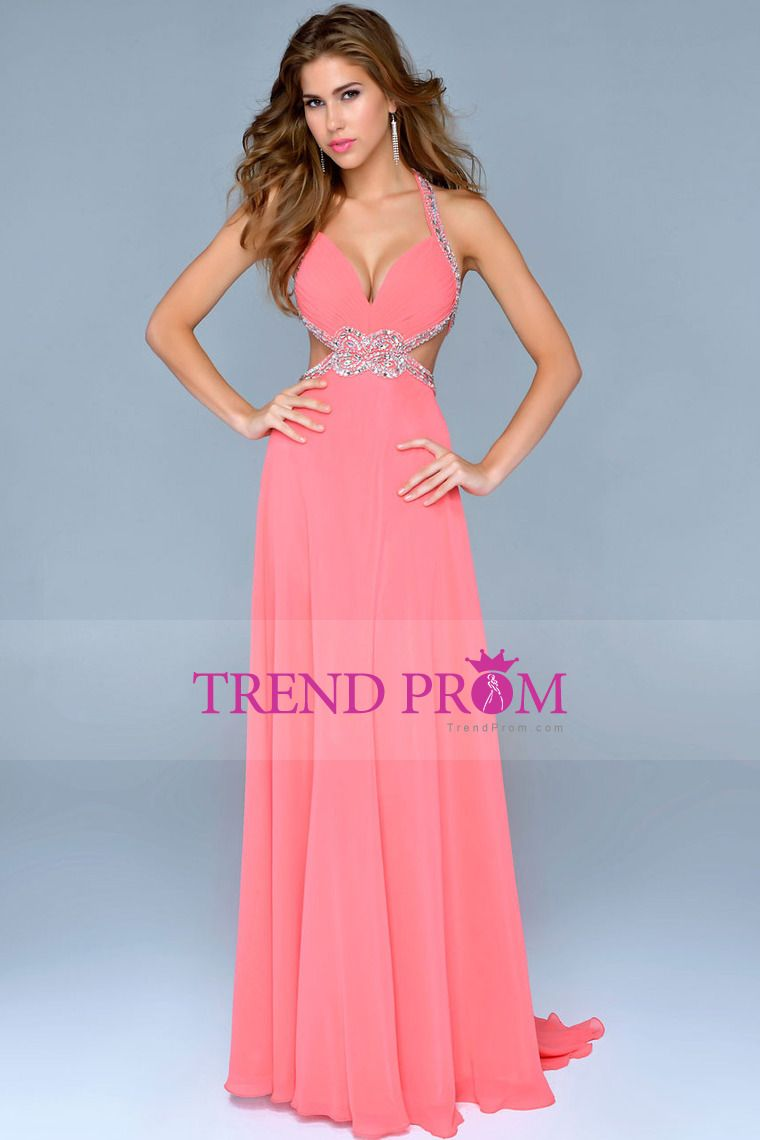 2014 New Arrival Chiffon Cut Out Halter Prom Dress Sexy A Line Court ...