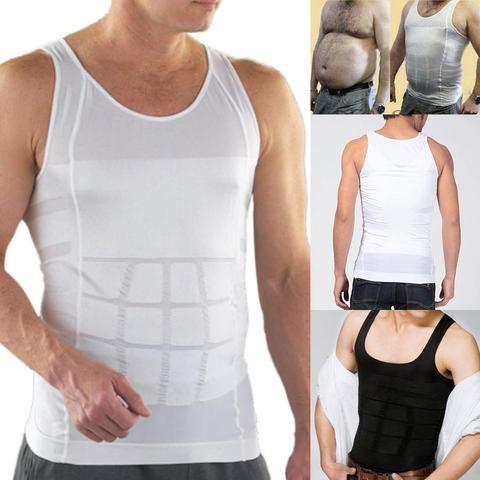 b47d0cdd8b 2 Colors Men Slimming Solid Vest Body Shaper Compression Waist Tummy  Control Underwear Shirt S-XXL