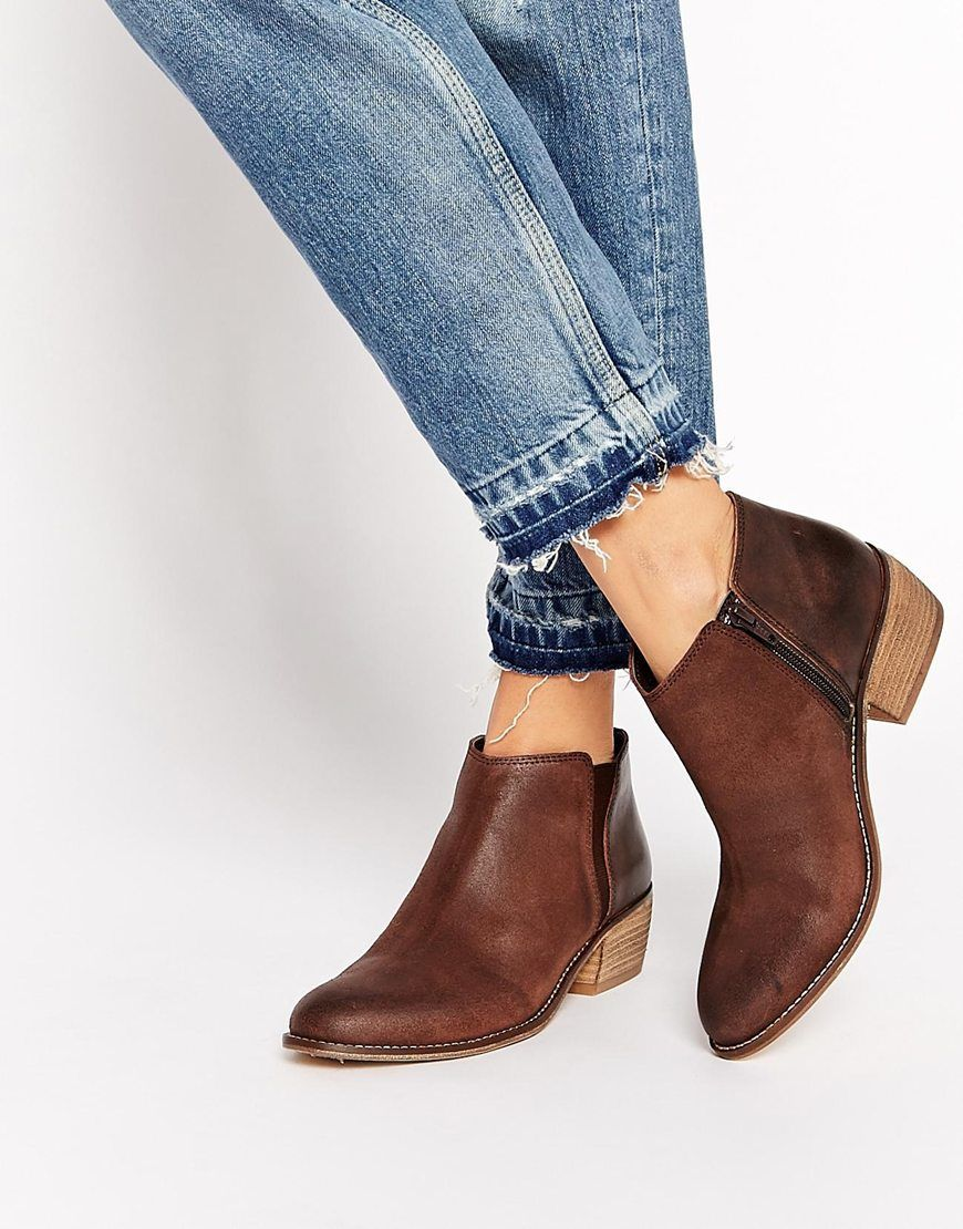 Image 1 of Dune Penelope Brown Leather Flat Ankle Boots | wish ...