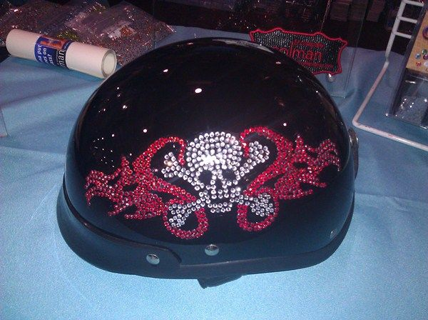 Rhinestone Decal Helmet Made With Rhinestone Hard Surface Material - Motorcycle helmet decals for women