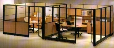 open office concept. open plan partition office furniture concept